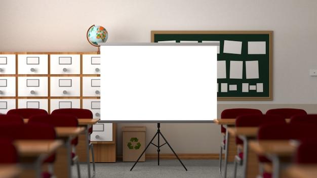 Класс с экраном проектора, столом, стульями, панелью и школьным шкафом.
