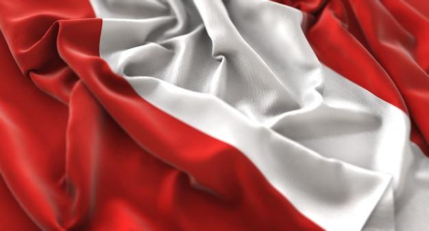 ペルーの旗が美しく波打つマクロの接写