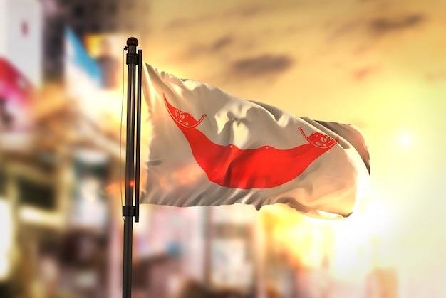 日の出のバックライトで都市のぼやけた背景に対するイースター島の旗