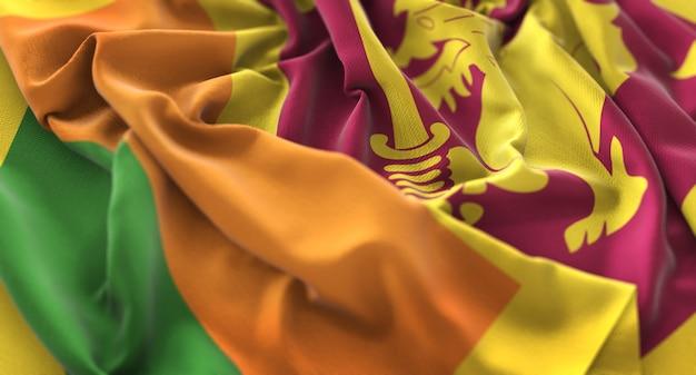 スリランカの旗が美しく揺れるマクロ接写