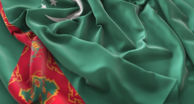 トルクメニスタンの旗が美しく波打ち際に浮上マクロ接写