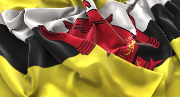 Брунейский флаг украшен красиво размахивая макровом крупным планом