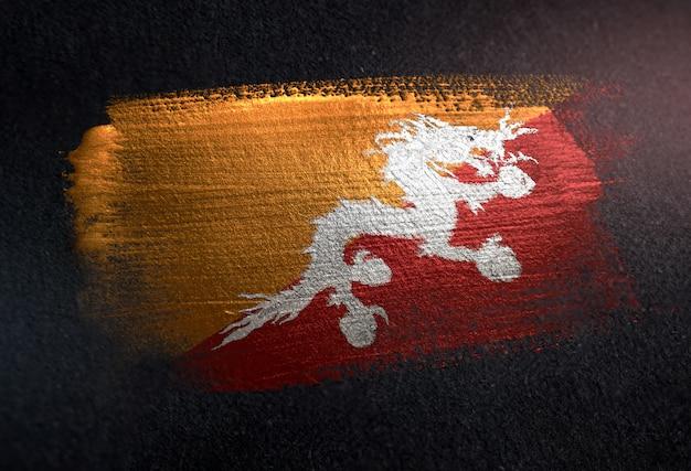 グランジダークウォールのメタリックブラシペイントで作られたブータンの旗