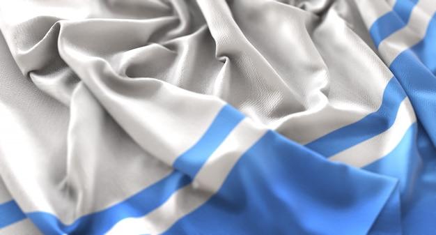 アルタイ共和国の旗が美しく揺れてマクロ接写
