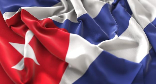 キューバの旗が美しく揺れてマクロ接写