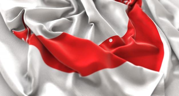 イースター島の旗が美しく波打ち際に浮かび上がるマクロ接写