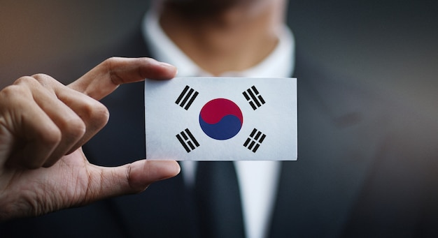 韓国の旗の実業家保有カード