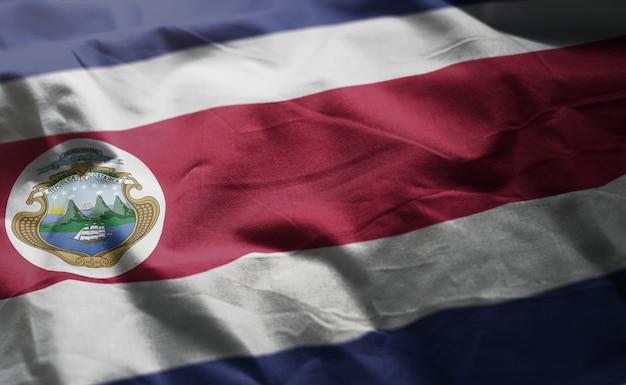 コスタリカの国旗しわくちゃのクローズアップ