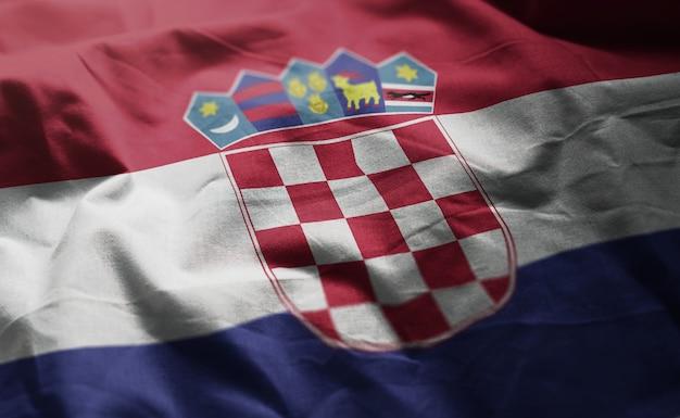 クロアチアの旗しわくちゃのクローズアップ
