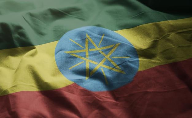 エチオピアの国旗のしわくちゃのクローズアップ