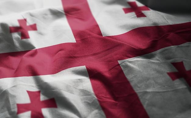 ジョージア州旗しわくちゃのクローズアップ