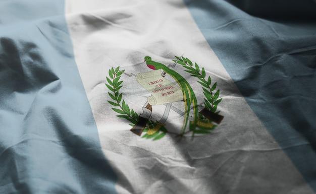 グアテマラの国旗しわくちゃのクローズアップ