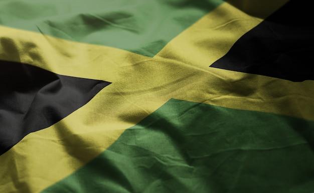 ジャマイカの国旗のしわくちゃのクローズアップ