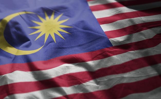 マレーシアの国旗のしわくちゃのクローズアップ