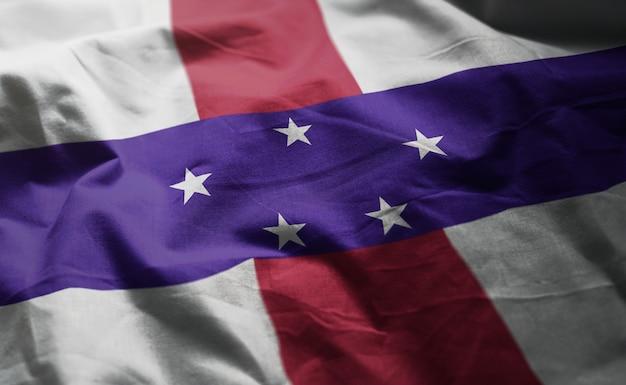 オランダ領アンティル諸島の国旗しわくちゃのクローズアップ