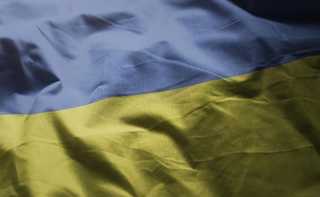 ウクライナの国旗のしわくちゃのクローズアップ