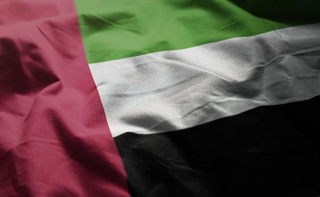 アラブ首長国連邦旗しわくちゃのクローズアップ