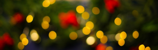 クリスマスライトボケ背景バナー
