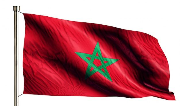 モロッコ、国旗、隔離された、白、背景