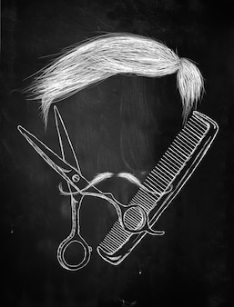 Волосы ножницы расчесывают усы