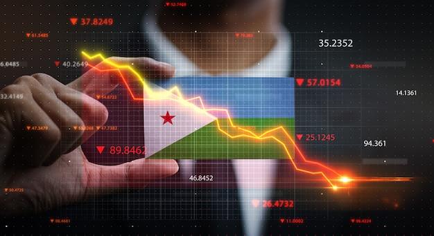 График падает перед флагом джибути. концепция кризиса