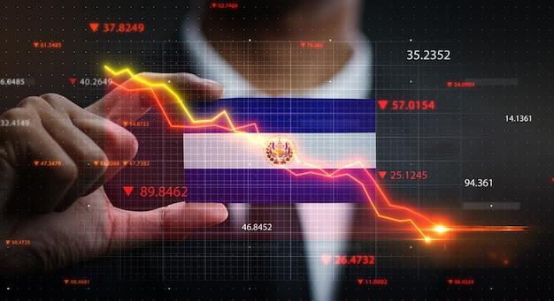 エルサルバドルの旗の前で落ちるグラフ。危機の概念