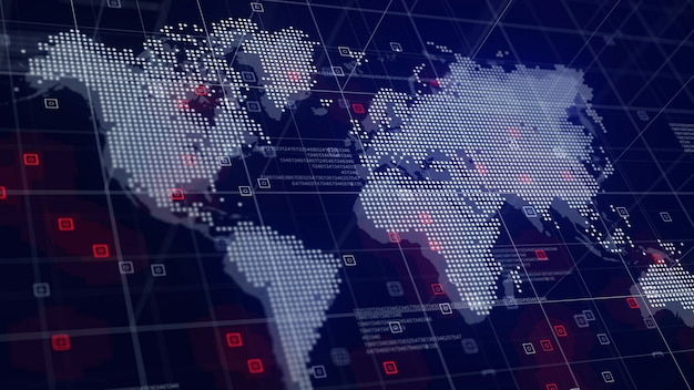 デジタル世界地図ホログラム青の背景