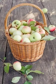 バスケットにカラフルな庭のリンゴスポットと有機自家製リンゴ
