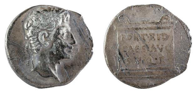 オクタヴィアンアウグストゥス。ローマ共和国のコイン。