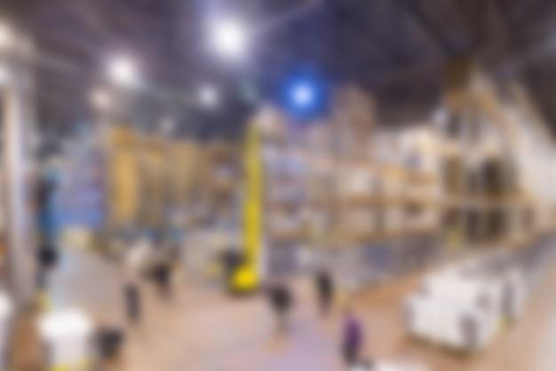 Большой современный фон размытия склада