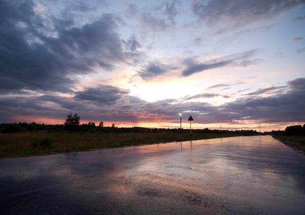 雨の後の日没