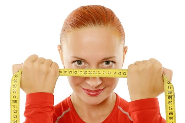 若い、赤、女、測定、テープ