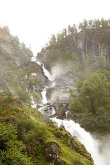 Потрясающий водопад в лесной зоне
