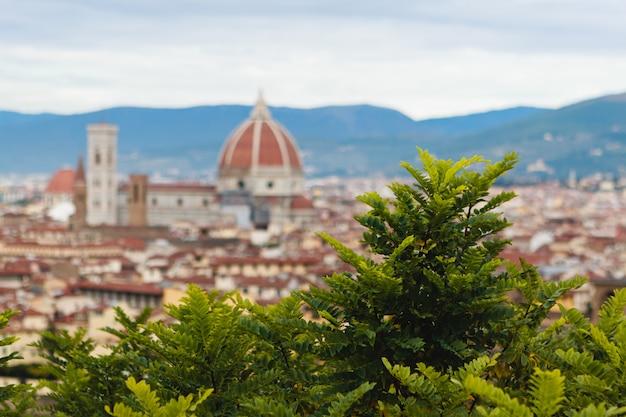 Флоренция городской пейзаж. панорама флоренции с площади микелана
