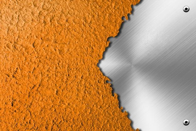 Разорванная бумага с металлическим фоном