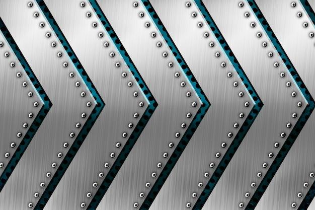 テンプレートの矢印パターンの背景を持つ光沢のある金属