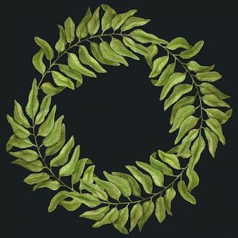 水彩植物要素のエレガントなビンテージフローラルリース。手の葉で描かれた水彩画の枝。