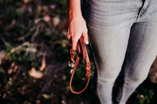 田舎の日没で茶色の革犬の鎖を保持している美しい白人女性