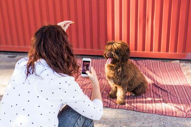 スペインの水犬の写真を撮る携帯電話を持つ女性。舌を出した幸せな犬。アウトドア