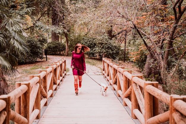 若い女性と公園を歩いて彼女のジャックラッセル犬