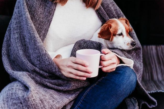 車に山で屋外を楽しむ女性とかわいいジャックラッセル犬。旅行のコンセプト。冬のシーズン。クローズアップビュー