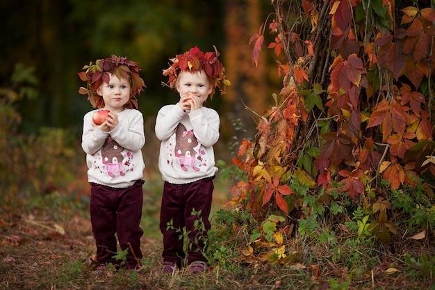 秋の庭でリンゴを保持している美しい小さな双子の女の子。りんごで遊ぶ女の子。秋の収穫で果物を食べる幼児。健康的な栄養。子供向けの秋のアクティビティ。ハロウィン