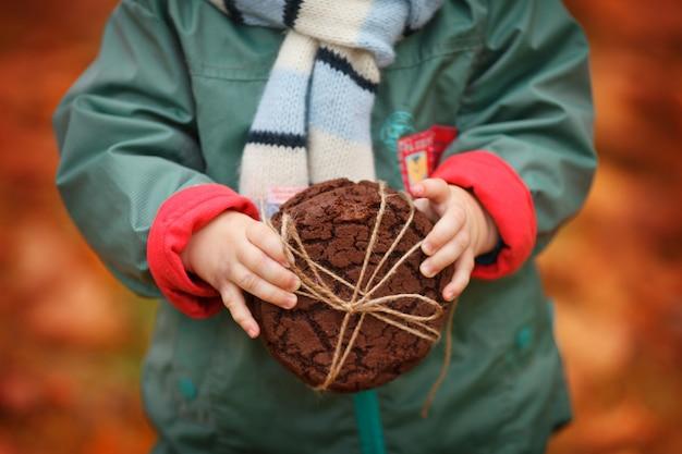オートミールクッキーを手に持った子。秋の背景においしいとカリカリのオートミールクッキーの写真を閉じます。ベーキングは、互いに一列に折り畳まれ、自然な編組で結ばれます。