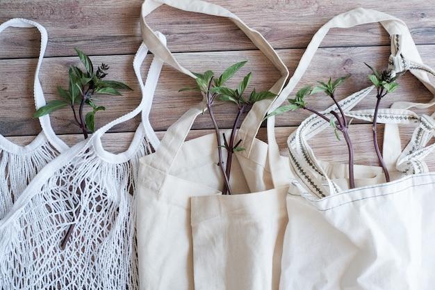 Эко-хлопок сумка с растением.