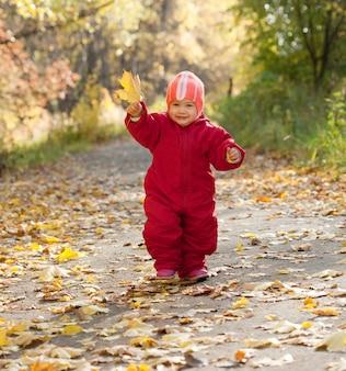 Счастливый малыш осенью