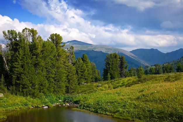 山の湖と垂直の風景
