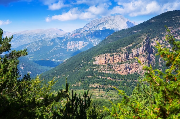 Вид на горы горного пейзажа