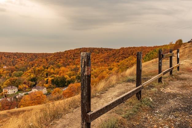 劇的な空の下で秋の森の丘の自然