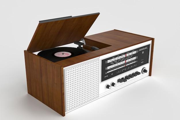 ビンテージラジオ受信機とビニールプレーヤー