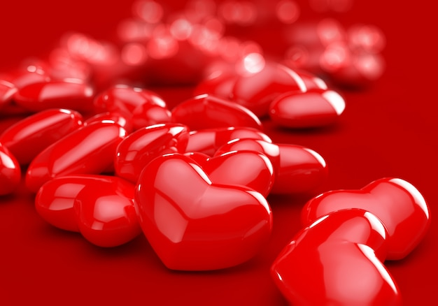 赤いハート-ロマンチックな愛のシンボル